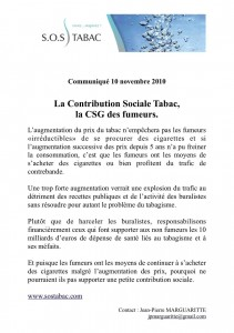 COMMUNIQUE SOS TABAC CSG DES FUMEURS 10 NOV 10