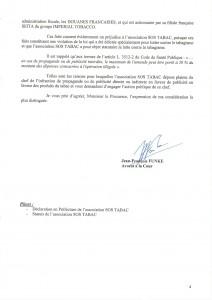 PLAINTE SOS TABAC 4 JF FUNKE 31 MAI 13